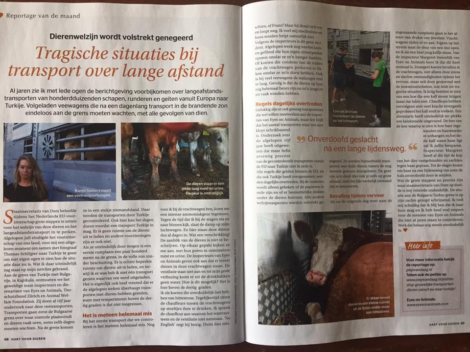 Karen Soeters - veetransporten - Hart voor Dieren